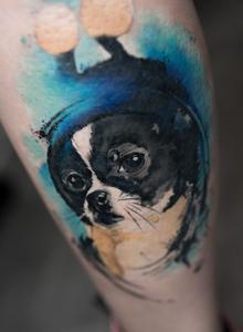 非常适合小女生的一款可爱狗狗纹身图片