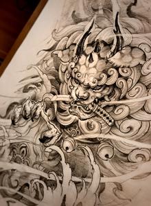 好看的猫咪老虎纹身图案设计手稿