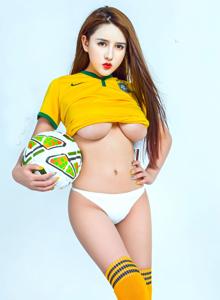 足球宝贝晗大大Via巴西队服身材火辣性感美女图片