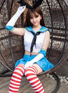 舰队Collection舰娘岛风长筒袜美女Cosplay写真图片