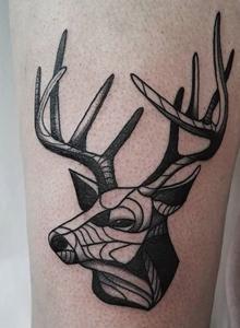 动物纹身图片 女生大腿彩色小鹿纹身图案大全