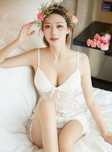 YouMei尤美付艺轩花仙私语性感美女蕾丝吊带内衣美女写真图片