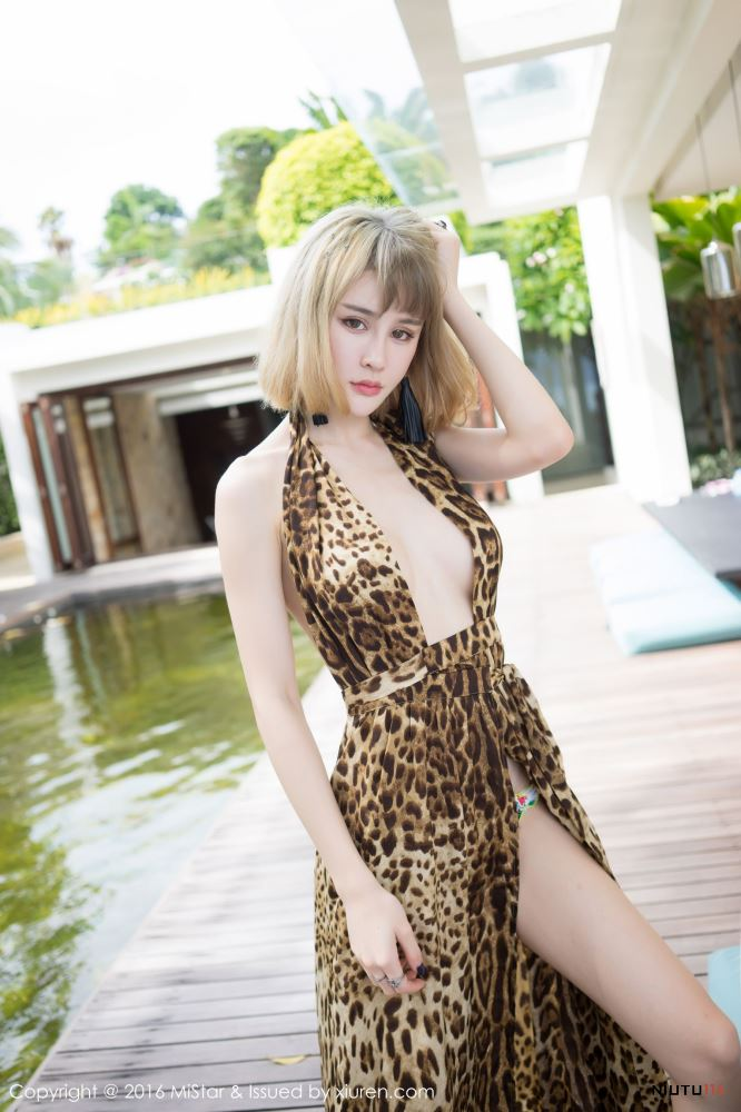 Cheryl青树性感豹纹吊带裙气质短发美女[魅妍社] Vol.131 写真集