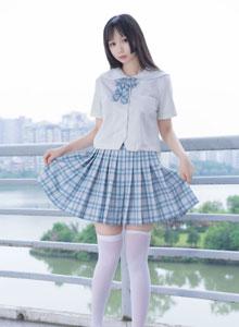 性感高挑白丝少女JK制服白丝大长腿 - 摄影机构喵糖映画VOL.015写真集